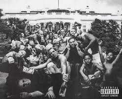 The album cover shows him and his child friends from Compton where he grew up around gang violence and members.